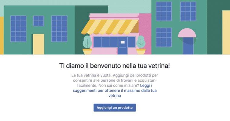 vetrina per vendere con facebook