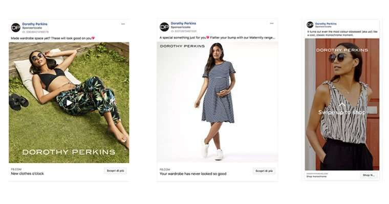 Ecommerce e Facebook Ads campagna carosello